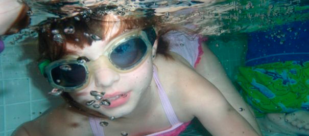 goggles and swimming lessons